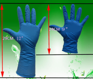 "9"" 12"" length PVC gloves"