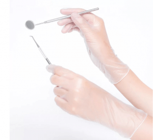 Operating disposable vinyl gloves for medical instruments